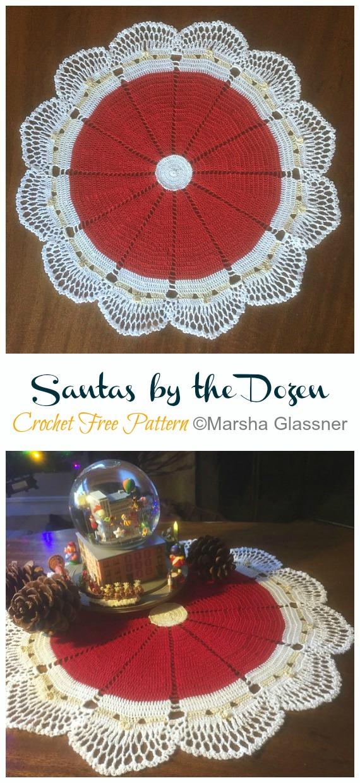 Santas by the Dozen Doily Free Crochet Pattern - #Christmas; #Doily; Crochet Free Patterns