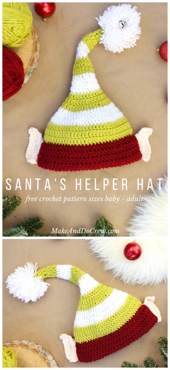 Elf Hat with Ears Crochet Free Pattern - #Crochet; #Christmas; Hat Gifts Free Patterns