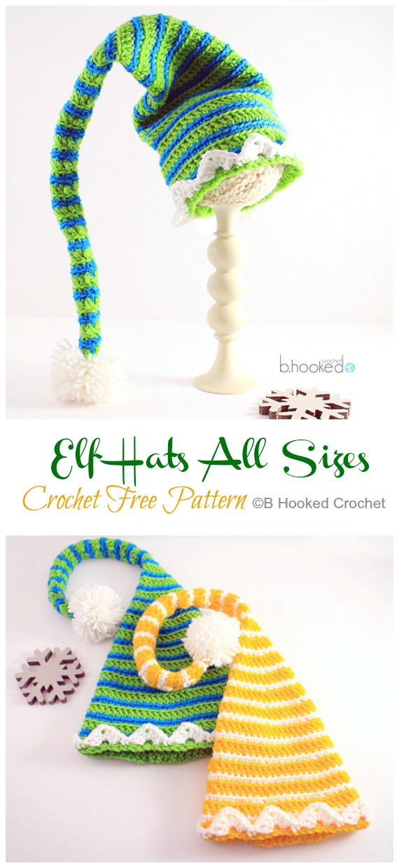 Elf Hats All Sizes Crochet Free Pattern - #Crochet; #Christmas; Hat Gifts Free Patterns