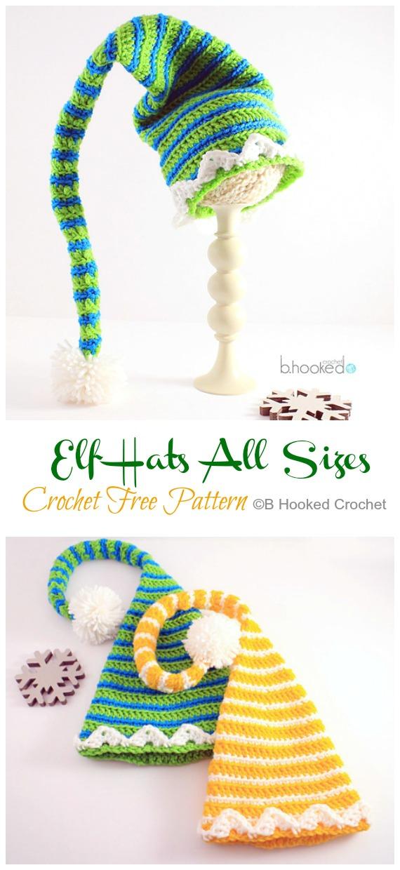 Elf Hats All Sizes Crochet Free Pattern - #Crochet; #Christmas; Hat Gifts Free Patterns