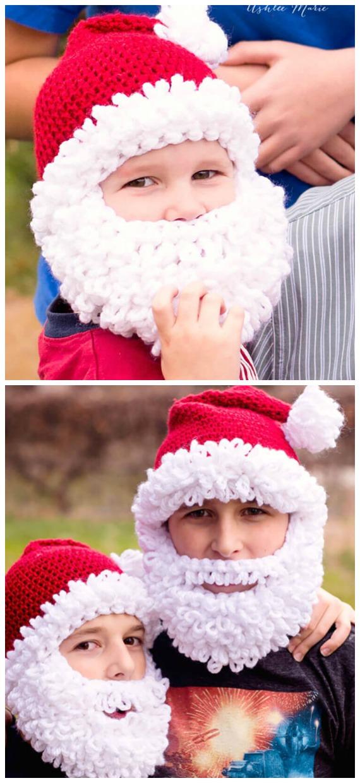 Double Loop Santa Beanie Hat Crochet Free Pattern - #Crochet; #Christmas; Hat Gifts Free Patterns