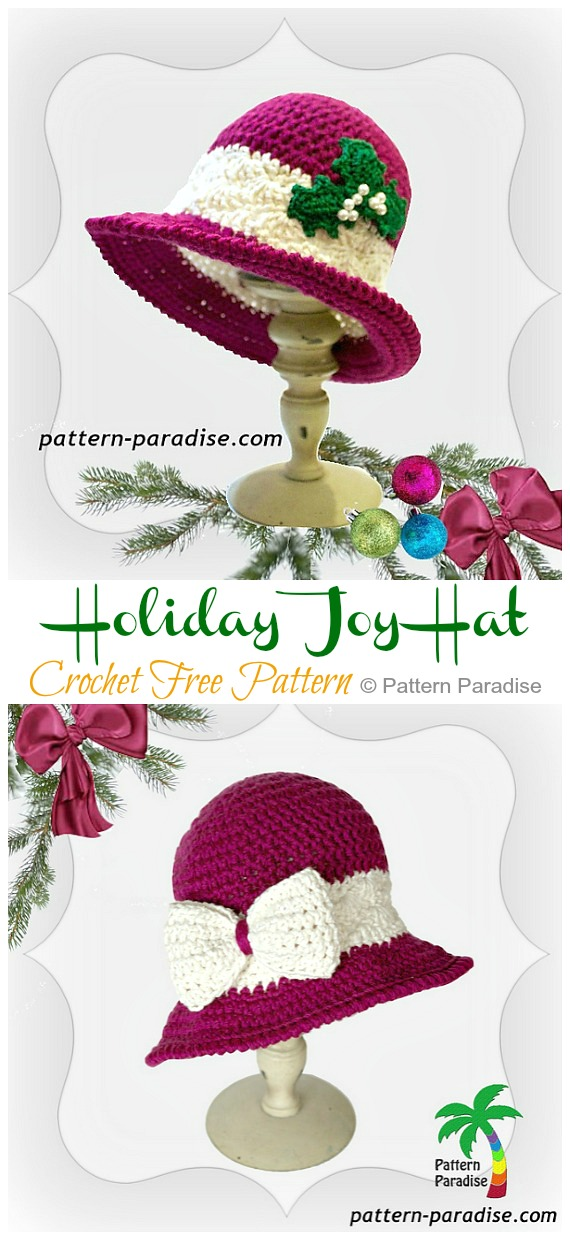 Holiday Joy Hat Crochet Free Pattern - #Crochet; #Christmas; Hat Gifts Free Patterns