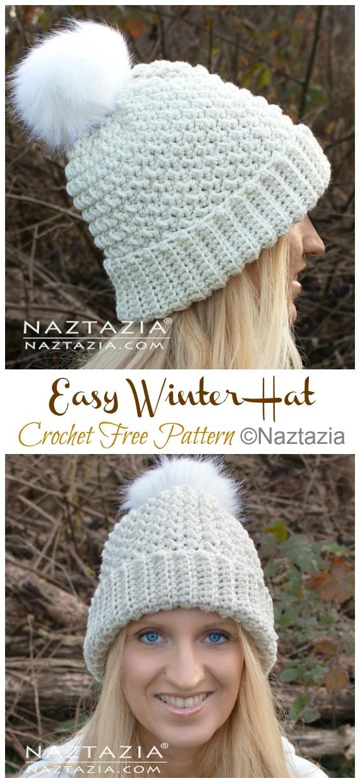 Easy Winter Hat Crochet Free Pattern - #Crochet; #Christmas; Hat Gifts Free Patterns