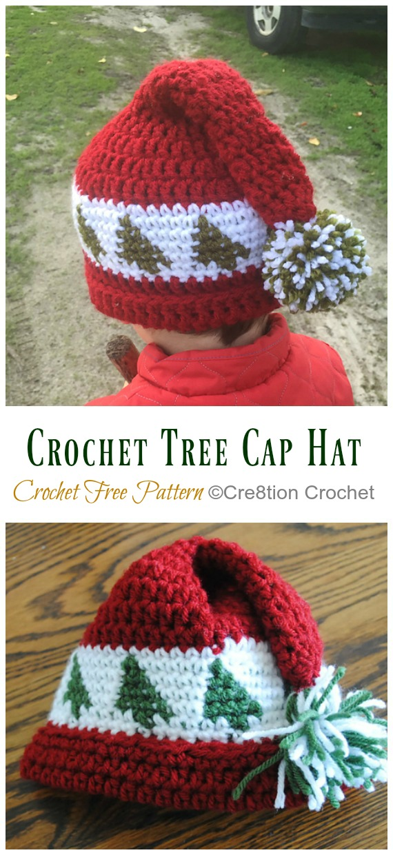 Trees Go Round Cap Hat Crochet Free Pattern - #Crochet; #Christmas; Hat Gifts Free Patterns