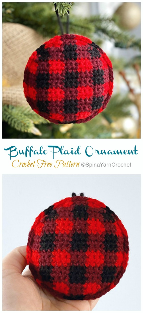 Buffalo Plaid Ornament Crochet Free Pattern - DIY #Crochet; #Christmas; #Ornament; Free Patterns