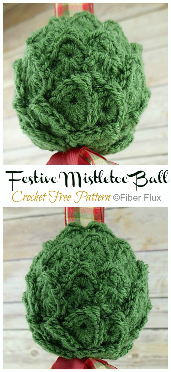 Festive Mistletoe Ball  Crochet Free Pattern - DIY #Crochet; #Christmas; #Ornament; Free Patterns