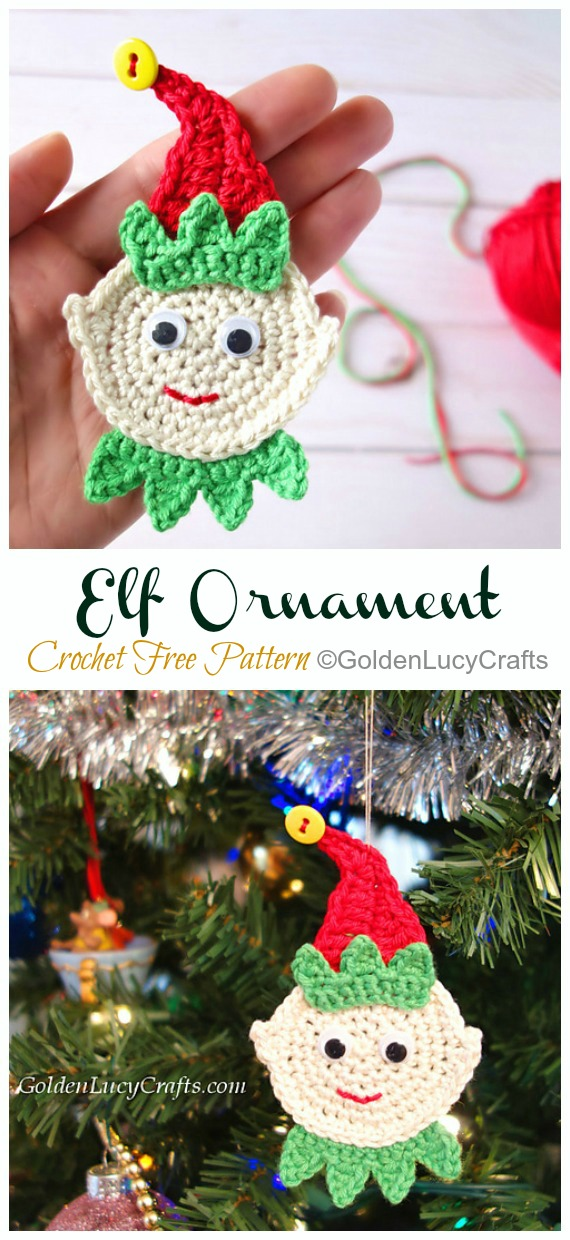Elf Christmas Ornament Crochet Free Pattern - DIY #Crochet; #Christmas; #Ornament; Free Patterns