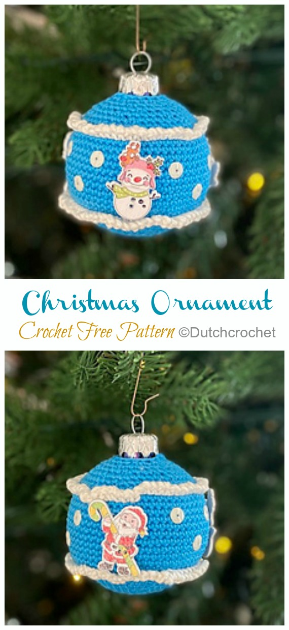 Ball Christmas Ornament Crochet Free Pattern - DIY #Crochet; #Christmas; #Ornament; Free Patterns