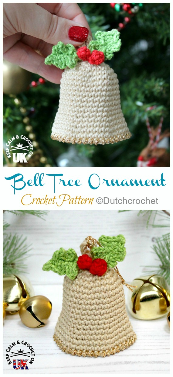 Christmas Bell Tree Ornament Crochet Pattern - DIY #Crochet; #Christmas; #Ornament; Patterns