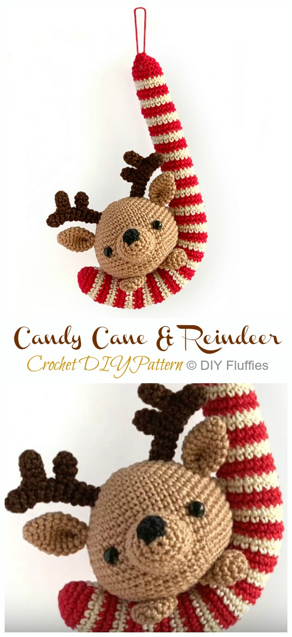 Candy Cane and Reindeer Christmas Ornament Crochet Free Pattern - DIY #Crochet; #Christmas; #Ornament; Free Patterns