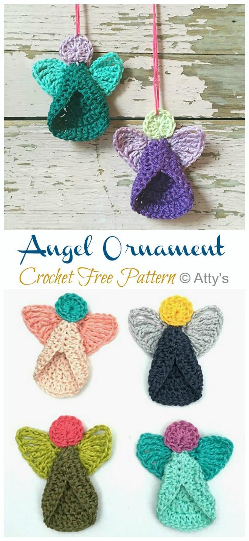 Angel Ornament Crochet Free Pattern -DIY #Crochet; #Christmas; #Ornament; Free Patterns