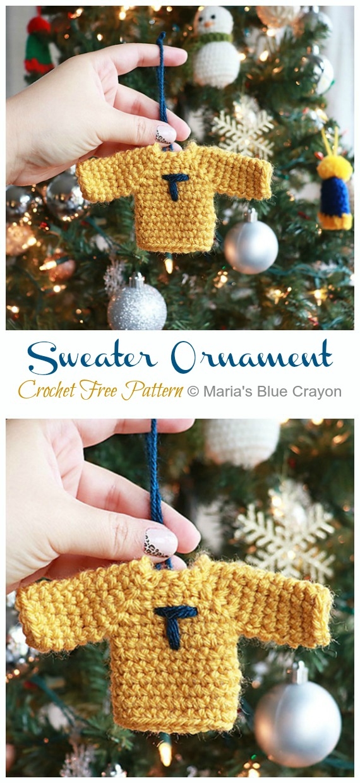 Sweater Ornament Crochet Free Pattern -DIY #Crochet; #Christmas; #Ornament; Free Patterns