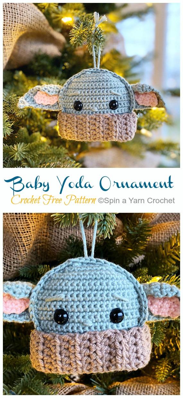 Amigurumi Baby Yoda Ornament Crochet Free Pattern -DIY #Crochet; #Christmas; #Ornament; Free Patterns