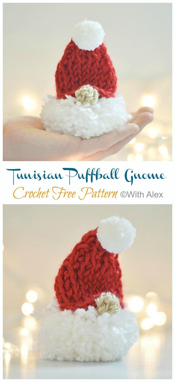 Amigurumi Tunisian Puffball Gnome Ornament Crochet Free Pattern -DIY #Crochet; #Christmas; #Ornament; Free Patterns