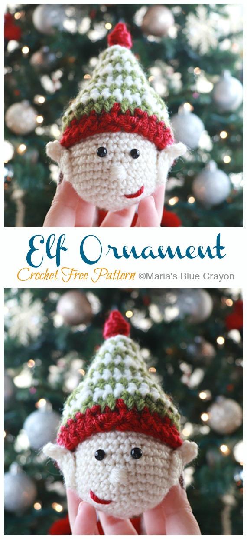Amigurumi Elf Ornament Crochet Free Pattern -DIY #Crochet; #Christmas; #Ornament; Free Patterns