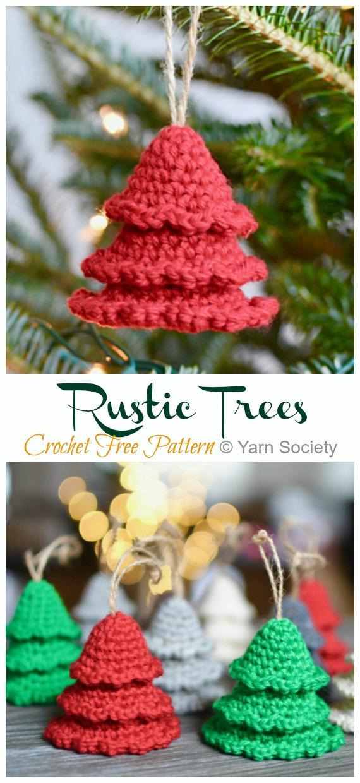 Amigurumi Rustic Trees Ornament Crochet Free Pattern -DIY #Crochet; #Christmas; #Ornament; Free Patterns