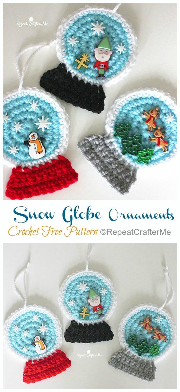 Snow Globe Ornaments Crochet Free Pattern -DIY #Crochet; #Christmas; #Ornament; Free Patterns