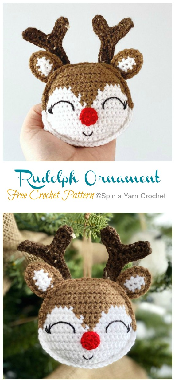 Rudolph Ornament Crochet Free Pattern - DIY #Crochet; #Christmas; #Ornament; Free Patterns
