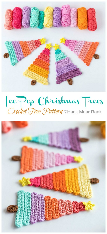 Ice Pop Christmas Trees Free Crochet Pattern - #Christmas; Tree Applique #Crochet; Free Patterns