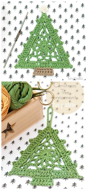 Triangle Christmas Tree Free Crochet Pattern - #Christmas; Tree Applique #Crochet; Free Patterns