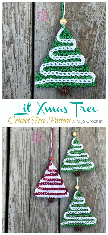 Lil' Xmas Tree Free Crochet Pattern - #Christmas; Tree Applique #Crochet; Free Patterns