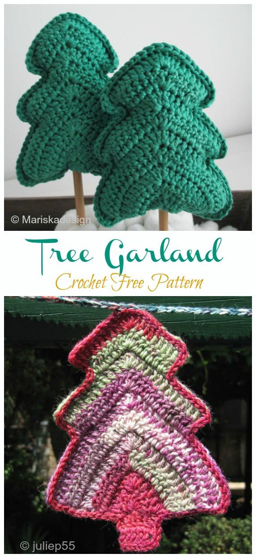 Tree Garland Free Crochet Pattern - #Christmas; Tree Applique #Crochet; Free Patterns