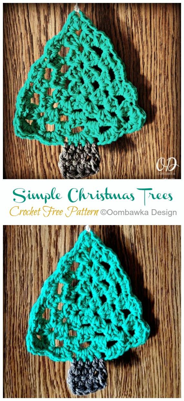 Simple Christmas Trees Free Crochet Pattern - #Christmas; Tree Applique #Crochet; Free Patterns