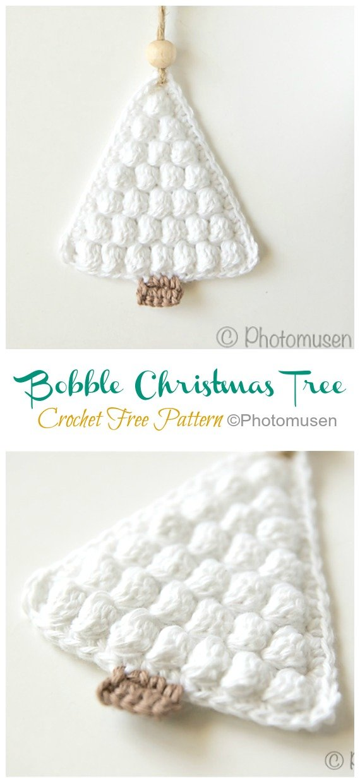 Bobble Christmas Tree Free Crochet Pattern - #Christmas; Tree Applique #Crochet; Free Patterns