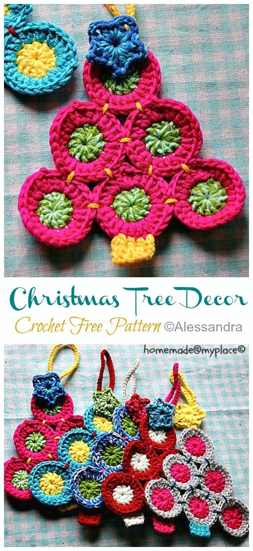 Christmas Tree Decorations Free Crochet Pattern - #Christmas; Tree Applique #Crochet; Free Patterns
