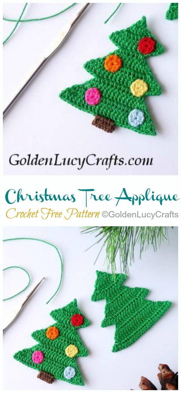 Christmas Tree Applique Free Crochet Pattern - #Christmas; Tree Applique #Crochet; Free Patterns