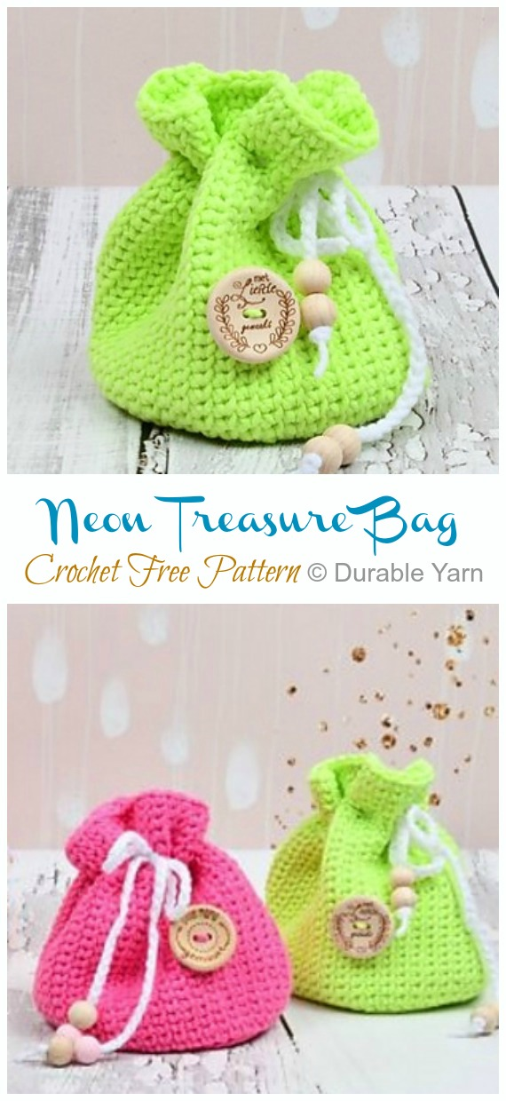 Neon Treasure Bag Crochet Free Pattern - Quick #Drawstring; Gift Bag Free #Crochet; Patterns