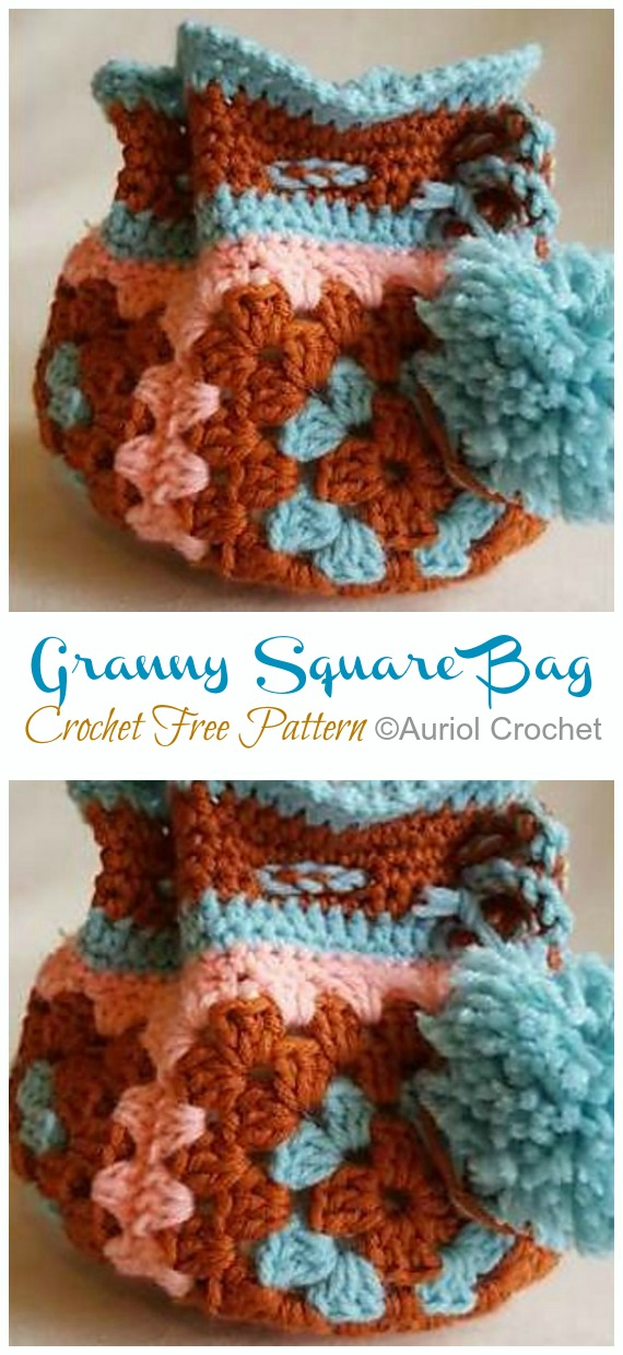 Granny Square Bag Crochet Free Pattern - Quick #Drawstring; Gift Bag Free #Crochet; Patterns