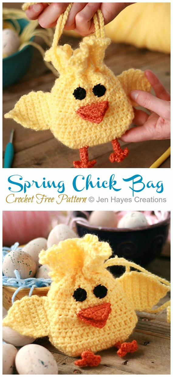 Spring Chick Drawstring Bag Crochet Free Pattern - Quick #Drawstring; Gift Bag Free #Crochet; Patterns