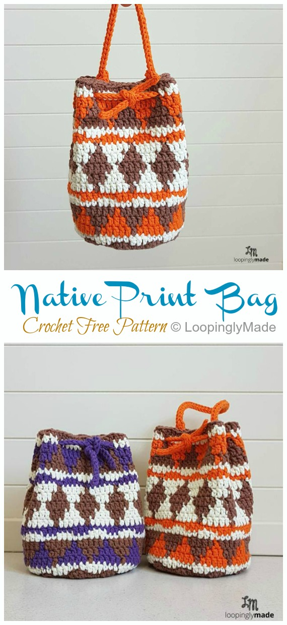 Native Print Drawstring Bag Crochet Free Pattern - Quick #Drawstring; Gift Bag Free #Crochet; Patterns