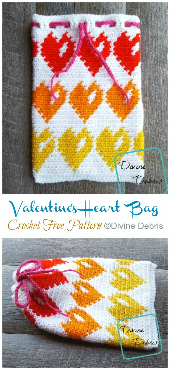 Valentine's Heart Bag Crochet Free Pattern - Quick #Drawstring; Gift Bag Free #Crochet; Patterns