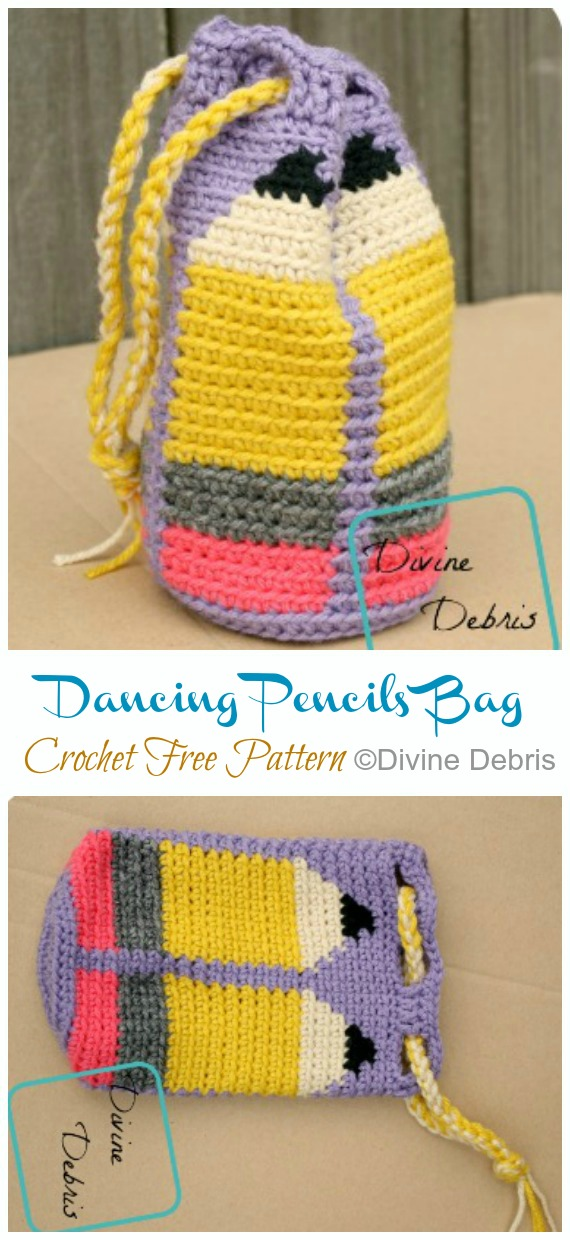 Dancing Pencils Drawstring Bag Crochet Free Pattern - Quick #Drawstring; Gift Bag Free #Crochet; Patterns