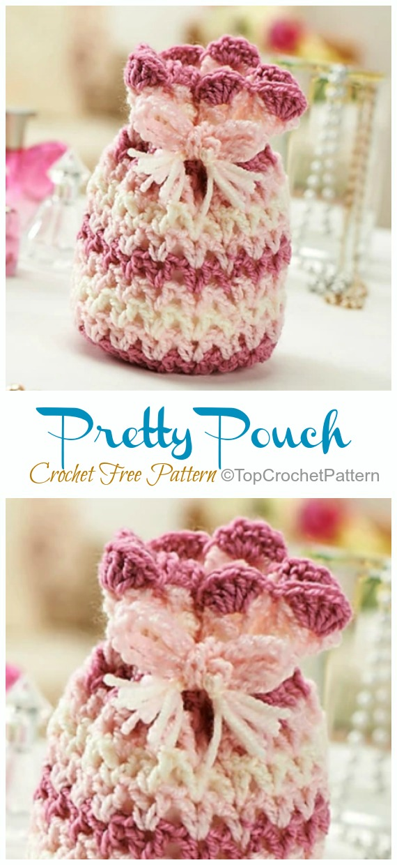 Pretty Pouch Crochet Free Pattern - Quick #Drawstring; Gift Bag Free #Crochet; Patterns