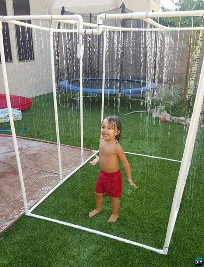 Backyard PVC Sprinkler Waterfall-20 PVC Pipe DIY Projects For Kids