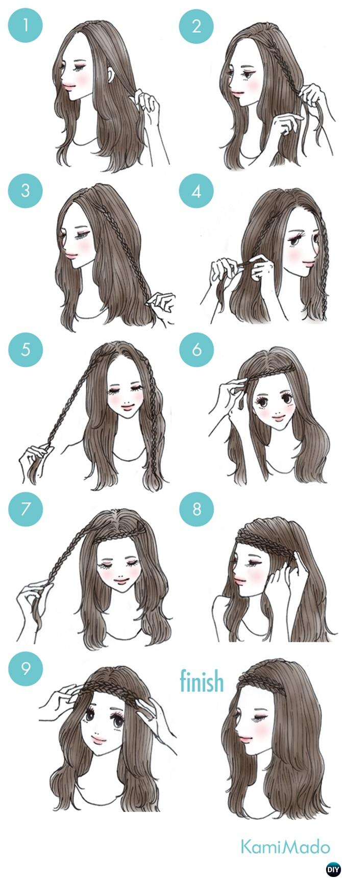 Braid Headband Hairstyle-20 Easy Busy Morning Hairstyles For Short Mid Long-Length Hairs