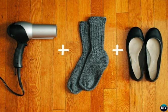 Break in stiff shoes with socks and hot hairdryer-20 Lady Girl Fashion Hacks