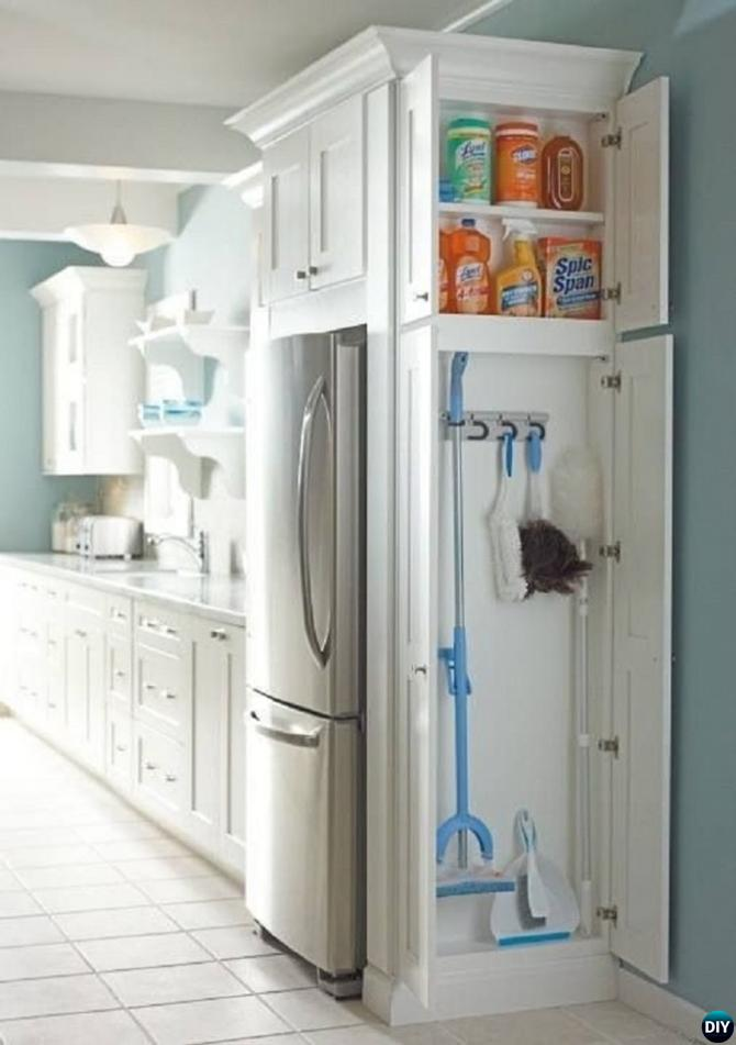 Built In Cleaning Storage-16 Brilliant Kitchen Storage Solutions You Can Make Yourself DIYHowto
