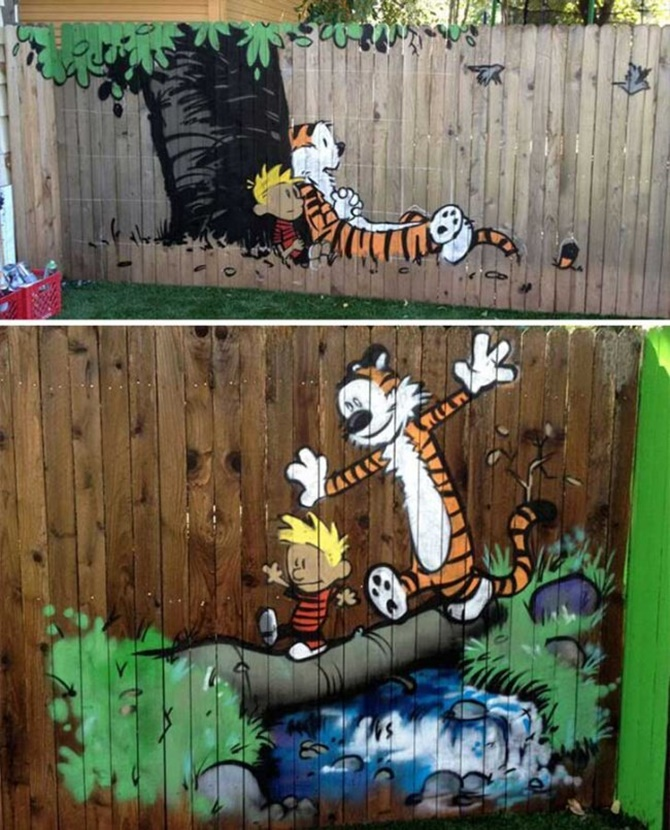 Cartoon Drawing Garden Fence Decor-20 Backyard Fence Decoration Makeover DIY Ideas