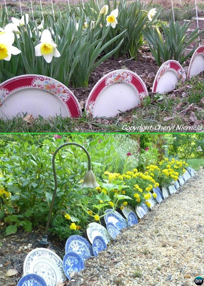 China Plate Dish Garden Edging   20 Creative Garden Bed Edging Ideas  Projects Instructions
