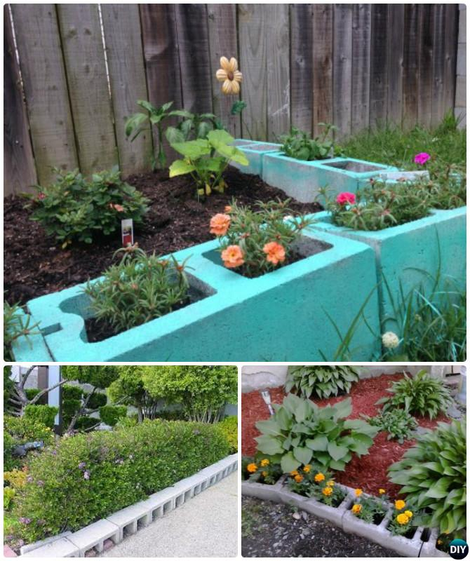 Cinder Block Raised Garden Bed Border Edging   20 Creative Garden Bed  Edging Ideas Projects Instructions