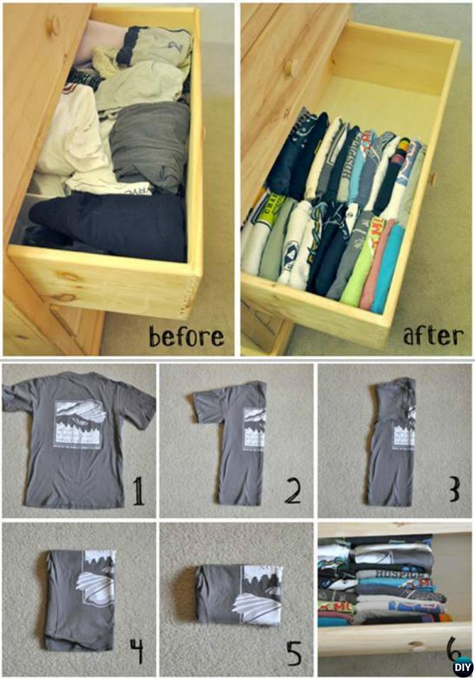 Correct Way to Fold T-shirts into Drawer-20 Lady Girl Fashion Hacks.jpg