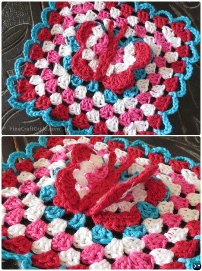 Crochet 3D Butterfly Granny Square Free Patterns