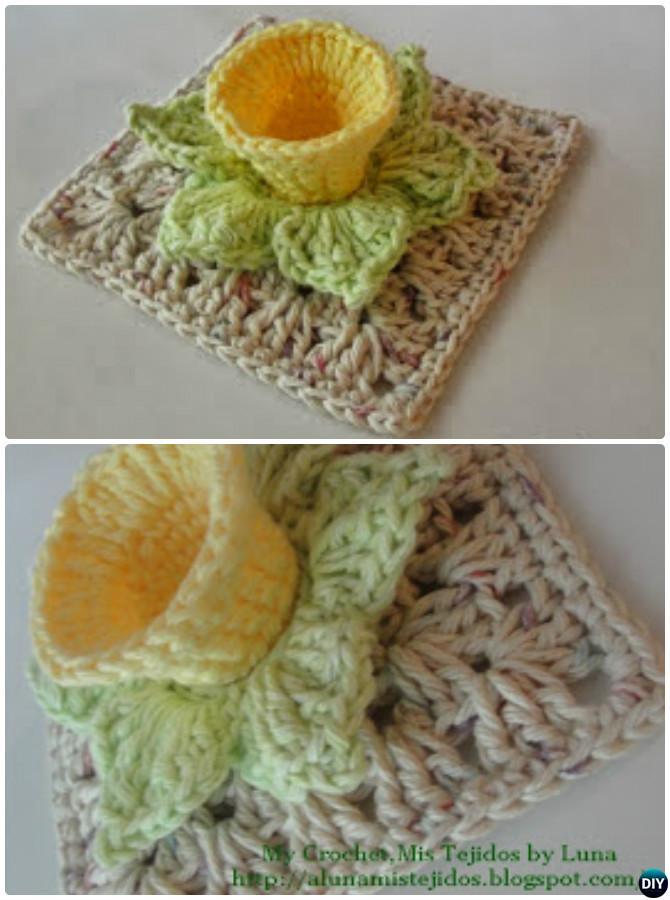 Crochet 3D Daffodil Flower Granny Square Free Pattern