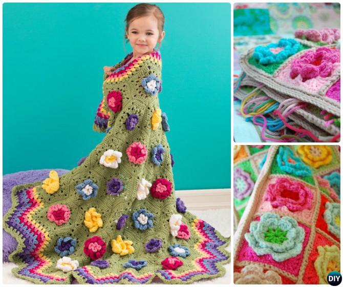 Crochet 3D Flower Blanket Throw Free Pattern
