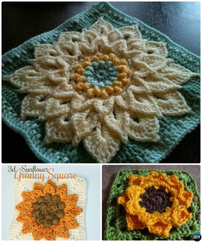 Crochet 3d Sunflower Granny Square Free Patterns Diy How To