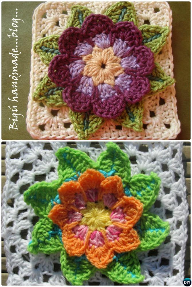 Crochet 3d Water Lily Flower Granny Square Free Patterns Diy How To